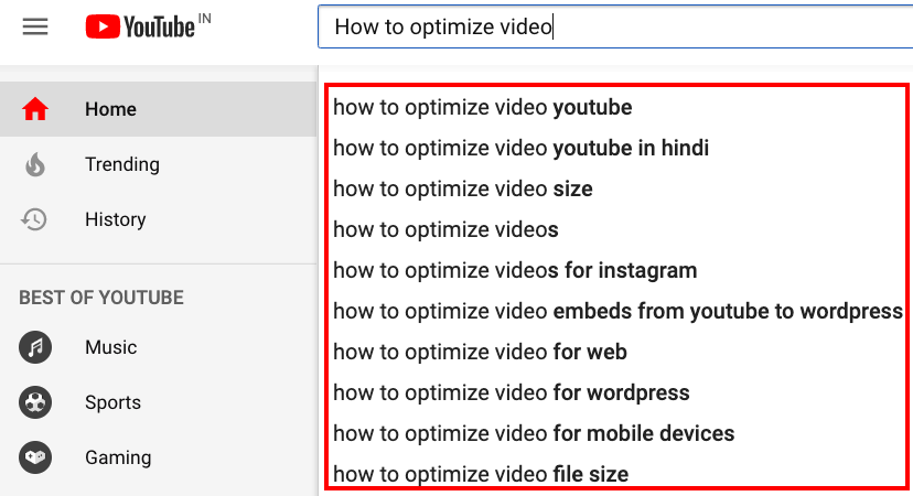 YouTube Autocomplete search feature: