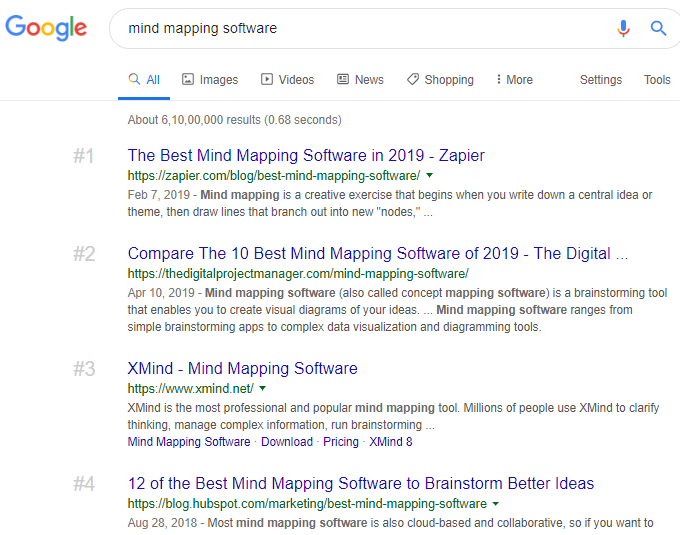 'mind mapping software' in Google