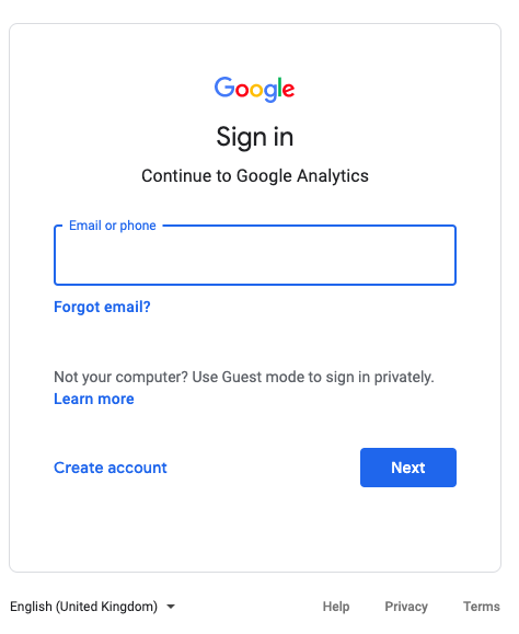 Open GA and login with your account