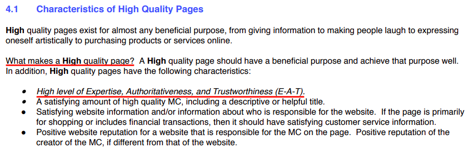 E-A-T: Characteristics of High Quality Pages'.